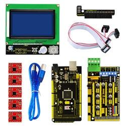 Бесплатная доставка! Keyestudio 3 D принтер комплект RAMPS 1,4  Mega 2560  5xA4988 драйвер двигателя  lcd 12864 контроллер