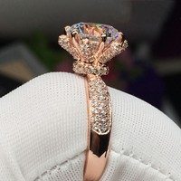 Flower Style Women Fashion Rose Gold Filled 925 Sterling Silver Rings 3ct Diamonique Cz Engagement Wedding