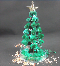 Купить с кэшбэком 2019 17x10cm Green DIY Magically Grow Christmas Trees Magic Growing Paper Tree Regalos Magicos Kids Baby Toys For Children 10PCS