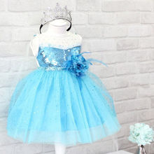 Girls Kids Snow Queen Princess Party Tulle Flower Dress Bling Gown Dresses