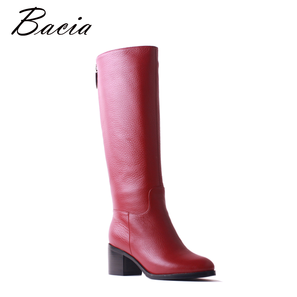 Bacia High Quality Cow Leather Boots Round Toe Wool Fur Women Shoes Wine Red Fashion Square Thick High Heels Long Boots SB104
