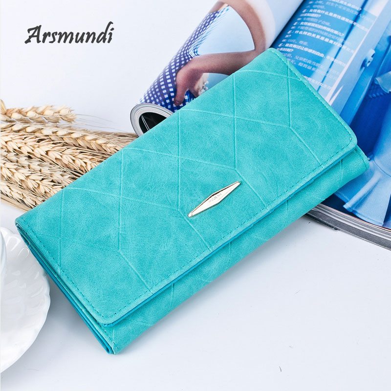 Arsmundi Women Ling Grid Embossed Long Wallet Fashion Three Fold Buckle Multi-card Purse Soft Leather Clutch Ladies Coin Purse