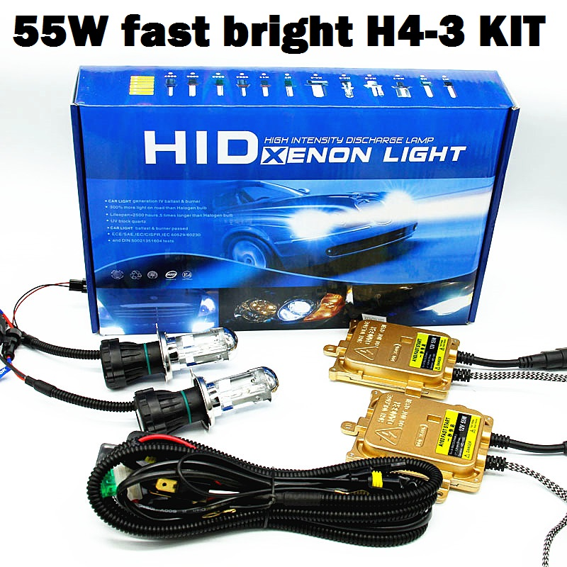 1 set AC 12 V 55 W Hid Xenon Kit H4 voiture source lumineuse H4 H/L BI-XENON 4300 k 6000 k 8000 k
