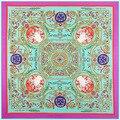 2016 new lady  silk scarf printed blue big large square 130*130cm cheap100% silk scarf fashion brand female silk scarves shawls