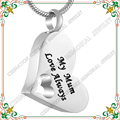 "CMJ8528 ""My Mum Love Always ""England Cremation Jewelry Style Ashes Urn Necklace for Mom colar masculino"