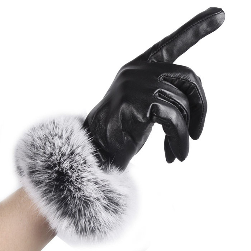 HTB1PnflmsnI8KJjSspeq6AwIpXaX - Naiveroo Touch Screen Gloves PU Leather Women Gloves Waterproof Faux Rabbit Fur Thick Warm Spring Winter Gloves Christmas Gifts
