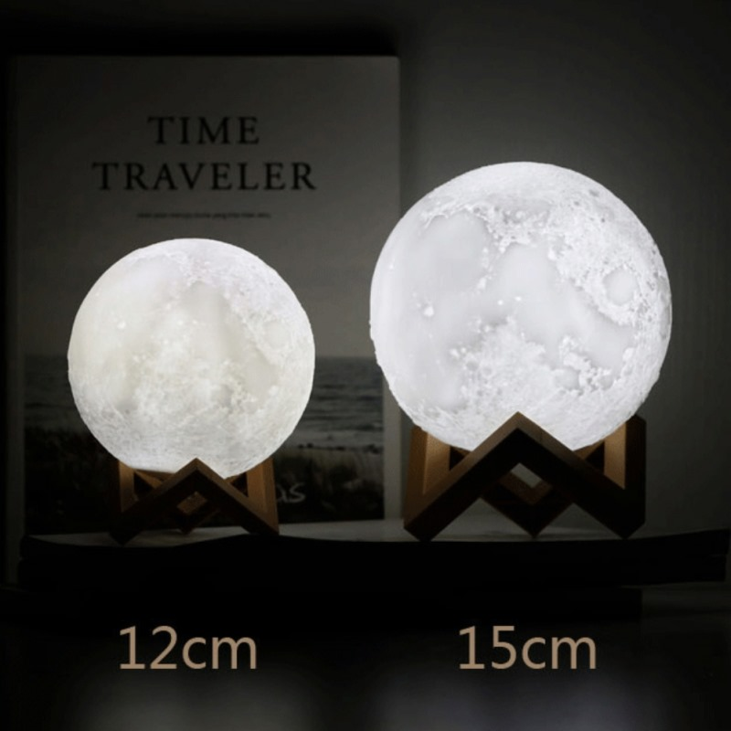 2018 New Moon Light Bussiness Gift 12CM 15cm Diameter 3D Printing Injection Moon Light # 16 Color Remote Control Touch Control