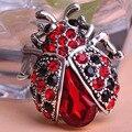 Banhado a prata mulheres encantador inseto joaninha vermelha cachecol jóias blucome clips pinos strass cristal pavimentada pequeno bonito bijoux broche