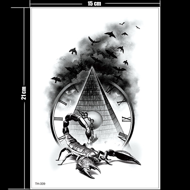 Image 2 - Horror clock crow dark clouds pyramid scorpion temporary tattoos scorpion tattoo design for men women tattoo compass harry style-in Temporary Tattoos from Beauty & Health