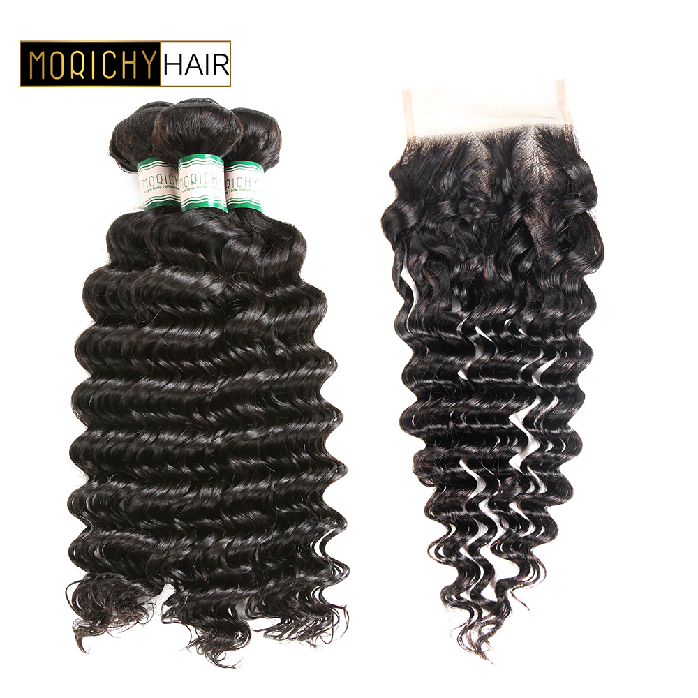MORICHY Peruvian Hair Weave Bundles With Closure Remy Human Hair Deep Wave Bundles With Closure Free Part Closure with 3 Bundles
