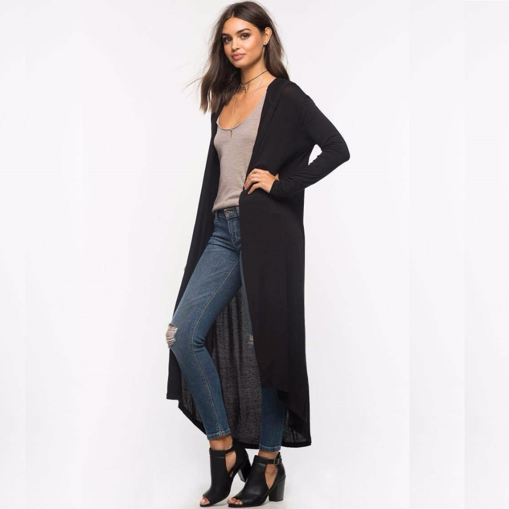 Autumn 2017 New Casual Long Hooded Cardigan Women Fashion Thin Loose Long Sleeve Cotton Black Cardigans Plus Size Spring Summer