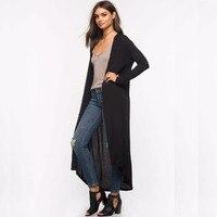 Autumn 2017 New Casual Long Hooded Cardigan Women Fashion Thin Loose Long Sleeve Cotton Black Cardigans