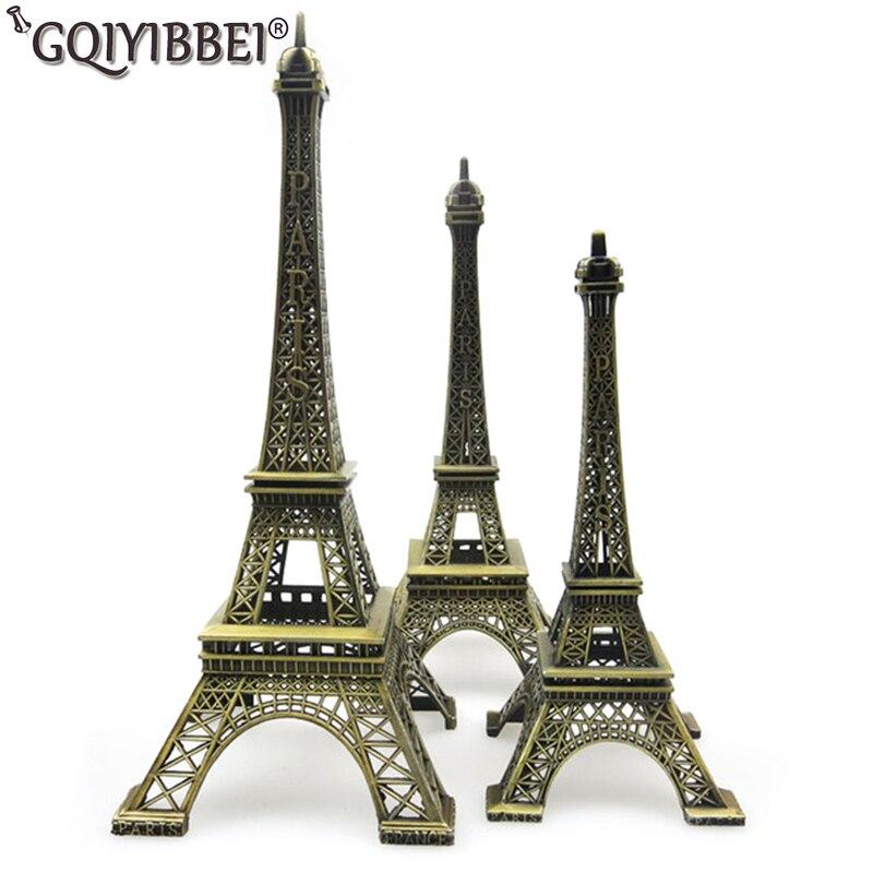 GQIYIBBEI 48 cm artisanat en Bronze Paris tour Eiffel modèle ornements Figurine en alliage de Zinc Statue voyage Souvenirs décorations pour la maison