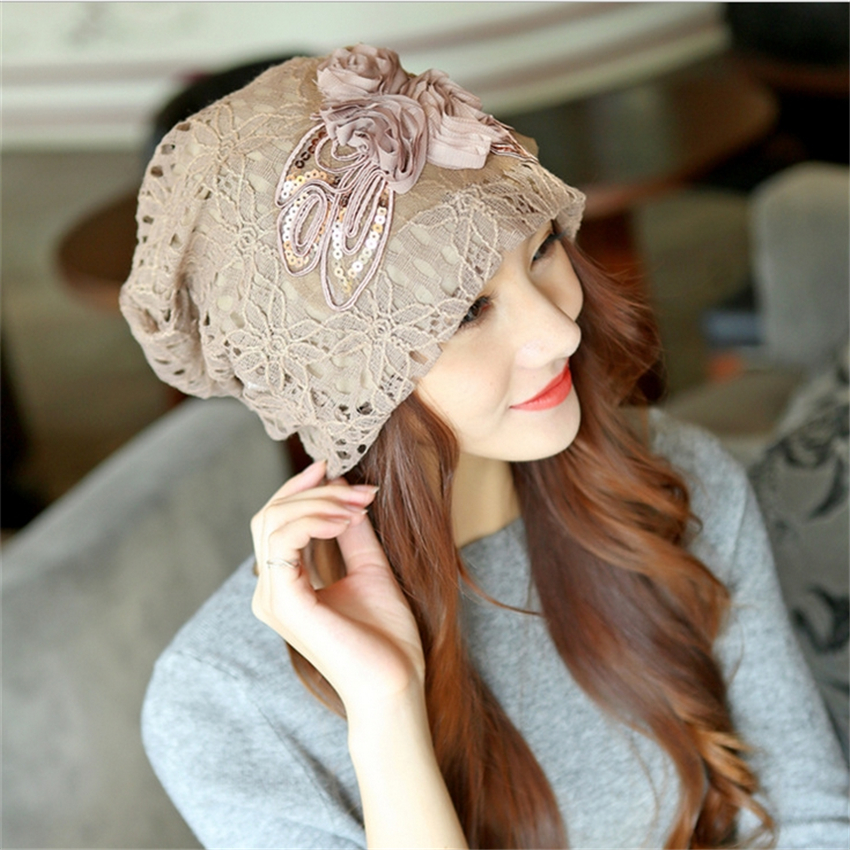 fashion women hollow out lace flowers pattern hats ladys warm caps beanies confinement caps