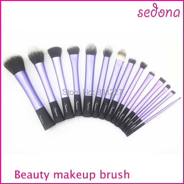 Luxury 14 pieces / set super soft hair blue makeup brush kit for make up,Eye Face & lip Cosmetic brush kit made Black Handle 15 pcs nylon face eye lip makeup brush set page 3
