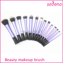 Luxury 14 pieces / set super soft hair blue makeup brush kit  for make up,Eye Face & lip Cosmetic brush kit made Black Handle