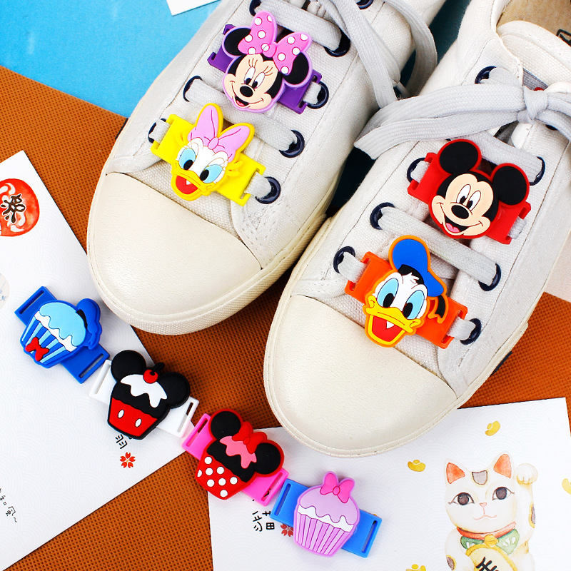 Novelty Cartoon Shoes Decorations Mickey/Minnie/Donald Duck Casual/Sports Shoe Shoelace Charms Accessories For Kids Gifts M422