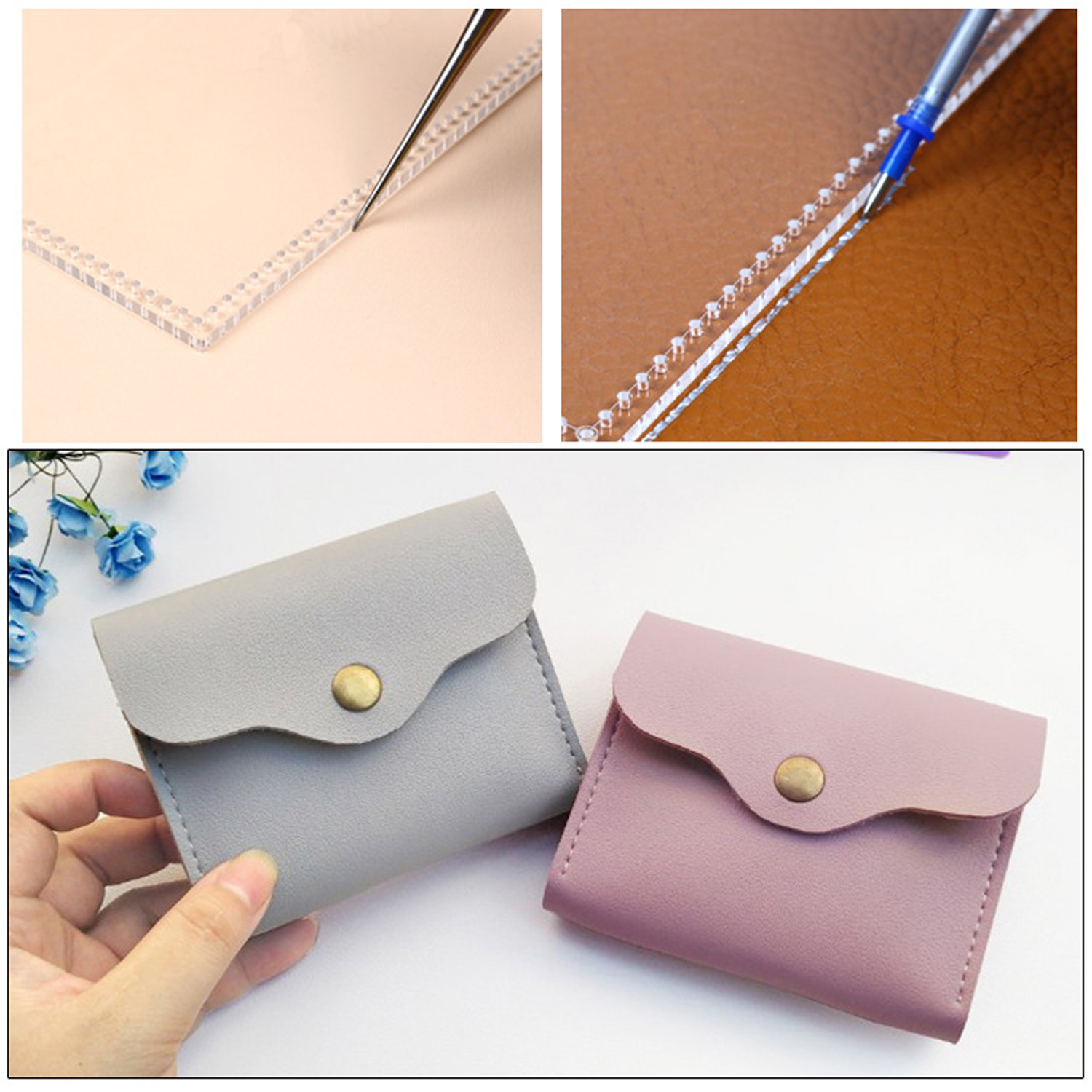 Wallet Pattern Leather Acrylic Clear Casual Sewing Purse Wallet ...