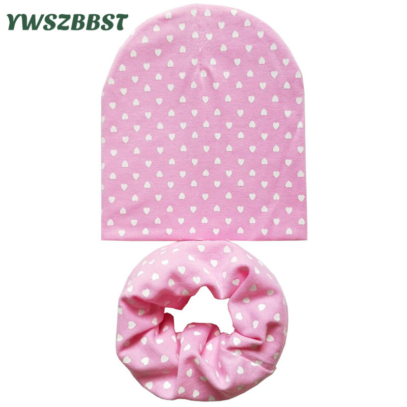 New Autumn Winter Cotton Baby Hat Scarf Set Love Heart Print Toddler Child Cap Boys Girls Knit Hat Beanies Caps Baby Accessories