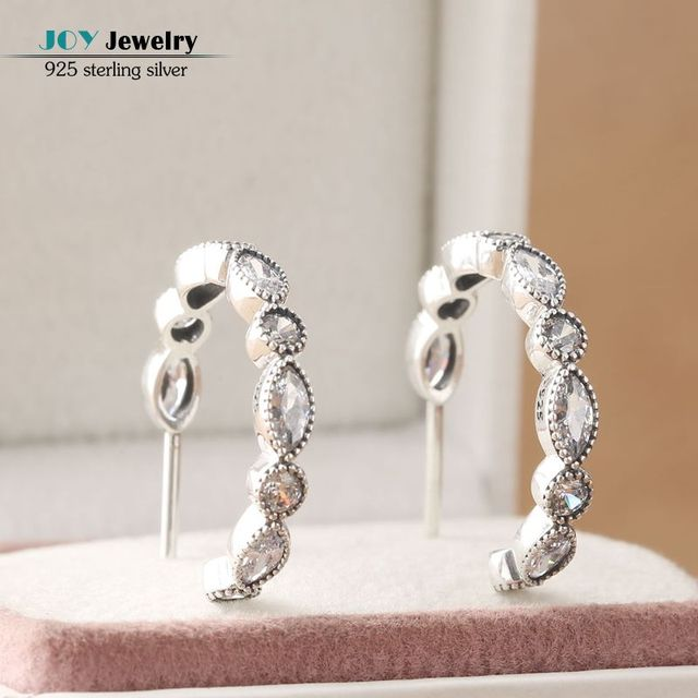 2016 Autumn CZ Diamond Alluring Brilliant Marquise Hoop Earrings For Women 925 Sterling-Silver-Jewelry Crystal Geometric Earring