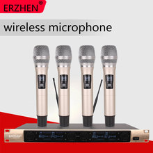 Wireless SystemX-4600 Professional Microphone 4 Channel VHF Professional 4 Handheld Microphone Stage Karaoke Wireless Microphone цена