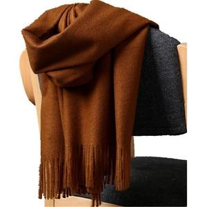 Image 4 - Высококачественный кашемировый шарф для женщин и мужчин, толстое теплое зимнее пончо, роскошный шерстяной Пашмина, женский длинный зимний шарф, шаль, палантин