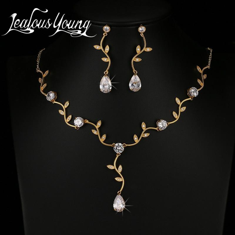 Moda Gota de Água de Cristal de Zircão Conjuntos de Jóias de Noiva Luxo Cor de Ouro Contas Africanas Conjunto de Jóias Para As Mulheres Jóias AS136