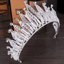 Mode Luxus Silber Farbe Tiara Crown Braut Haarband Strass Kristall Stirnband Frauen Haar Schmuck Hochzeit Haar Zubehör