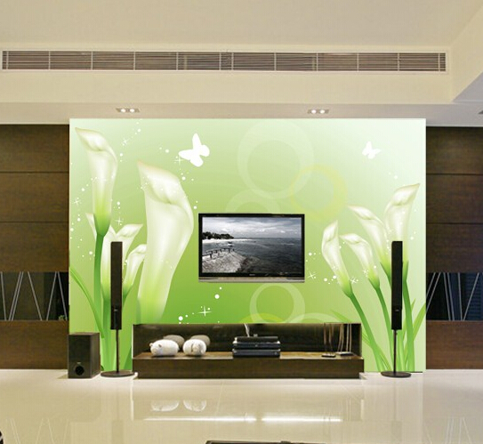 Custom 3D stereoscopic large mural wallpaper fabric wall paper minimalist living room sofa TV background flowers green lily custom 3d stereoscopic large mural wallpaper wall paper living room tv backdrop of chinese landscape painting style classic
