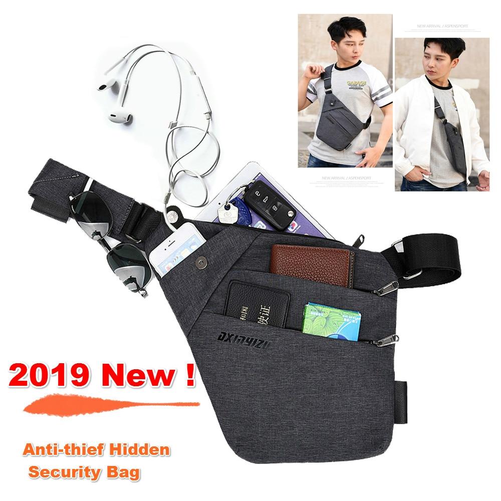 Fashion Vest Anti-thief Hidden Bag Functional Streetwear Tactical Money Passport Waist Pack Black Underarm Shoulder Bag