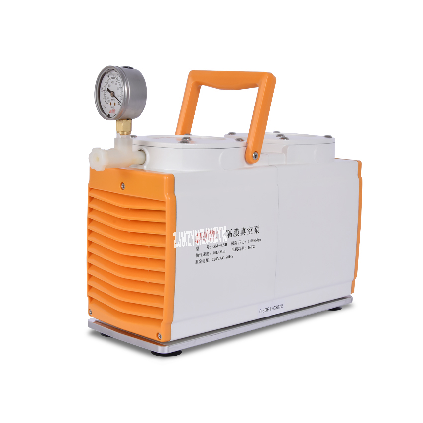 New Anti-corrosion Type GM-0.5B Vacuum Pump Oil-free Diaphragm Vacuum Pump Laboratory Pump Dual Head 160W 220V AC, 50Hz 30 L/min