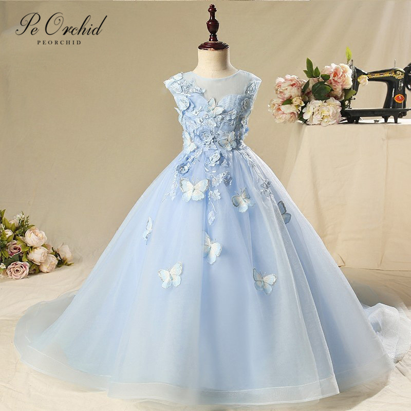PEORCHID Blue Butterfly Tulle Flower Girls Dresses 3D Floral Applique Robe De Communion Fille Girl Evening Dress Kids Party Gown