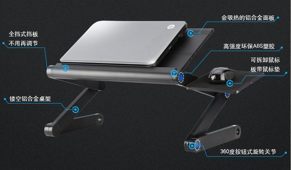 48 * 25 cm Sammenfoldeligt bærbart skrivebord Seng bærbart tablet - Møbel - Foto 3