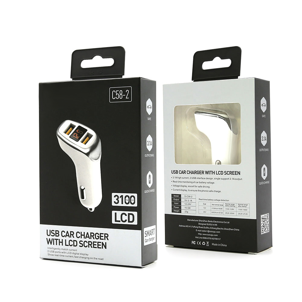 3 USB Smart Quick Charger Voltage Display Fast Car Charging For iPhone Samsung
