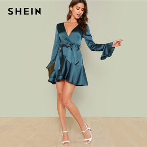 Image 5 - SHEIN Blue Party Elegant Sexy Split Back Ruffle Trim Overlap Front Belted Deep V Neck High Waist Solid Autumn Dress For Women