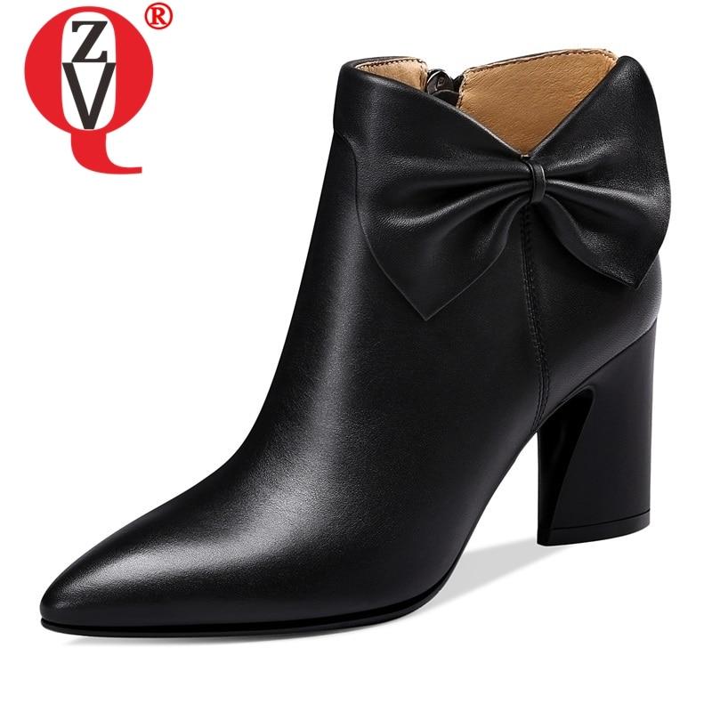 ZVQ botas mujer 2019 newest genuine leather pointed toe high strange style zipper winter plush warm