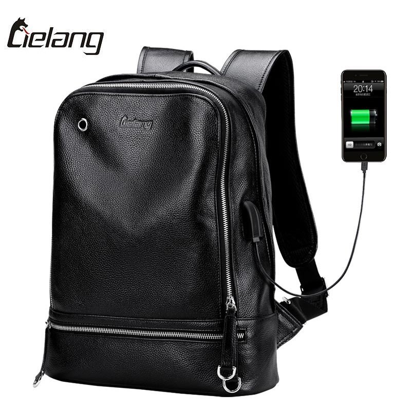 Mens Genuine Leather Backpack For Laptop usb Charger Back Pack High Quality Black Backpack Waterproof Male