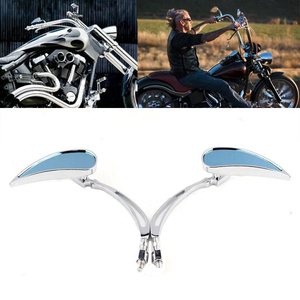 Chrome Custom Rearview Rear view Mirrors Blue For Harley Motorcycle Cruiser Chopper Dyna Electra Glide(China)