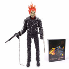2019 Nova 9 ''Superhero Ghost Rider Johnny Blaze Vermelho e Azul PVC Action Figure Collectible Modelo Toy(China)