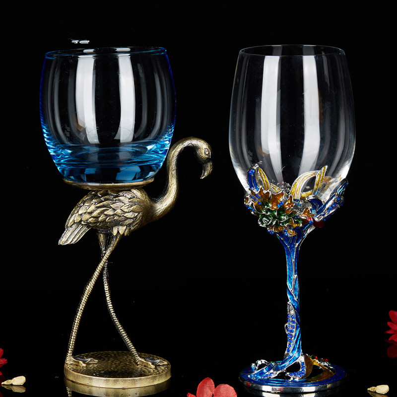 Crystal champagne Glass red wine Glass High Foot Enamel Wine Glass Wedding Gift Goblet With Bird Shape in Other Glass from Home Garden
