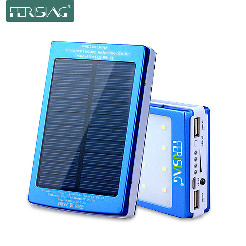 Banco de energía solar 100% efectivo con batería USB dual de 15600mAh, cargador