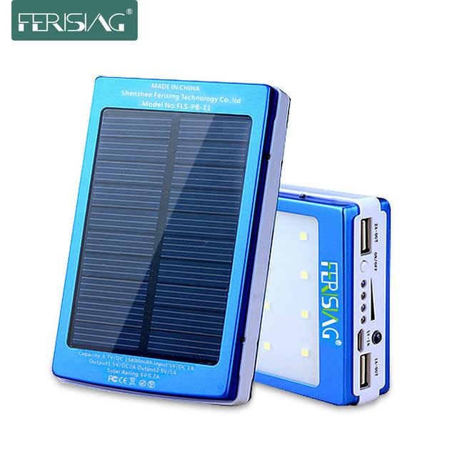 Banco de energía solar 100% efectivo con batería USB dual de 15600mAh, cargador portátil de luz LED, panel solar de banco de energía de metal 2016 marca Ferising PB-11