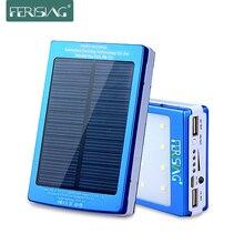Солнечное зарядное устройство, 100% реальное, 15600 мА/ч, два USB, портативная батарея, LED свет, зарядное устройство, металлическое зарядное устройство, солнечная панель, 2016, Ferising PB-11