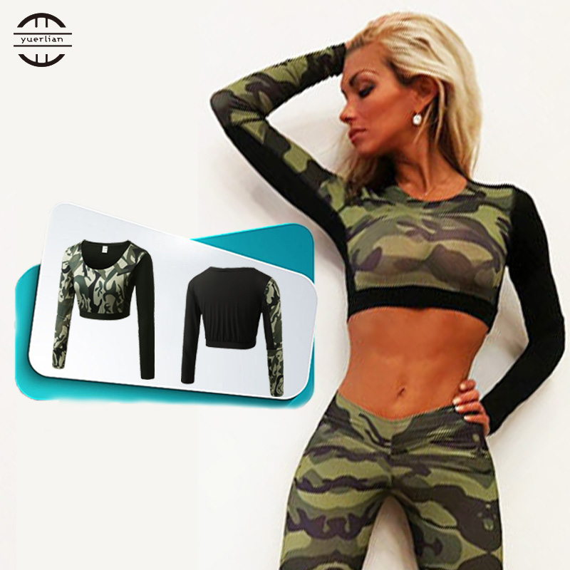 YEL Hot Dew Navel Attire Sexy Girl Crop Top Fitness Tight Blouse Costume Gym Sportswear Long Sleeve Tracksuit Yoga Women T-shirt