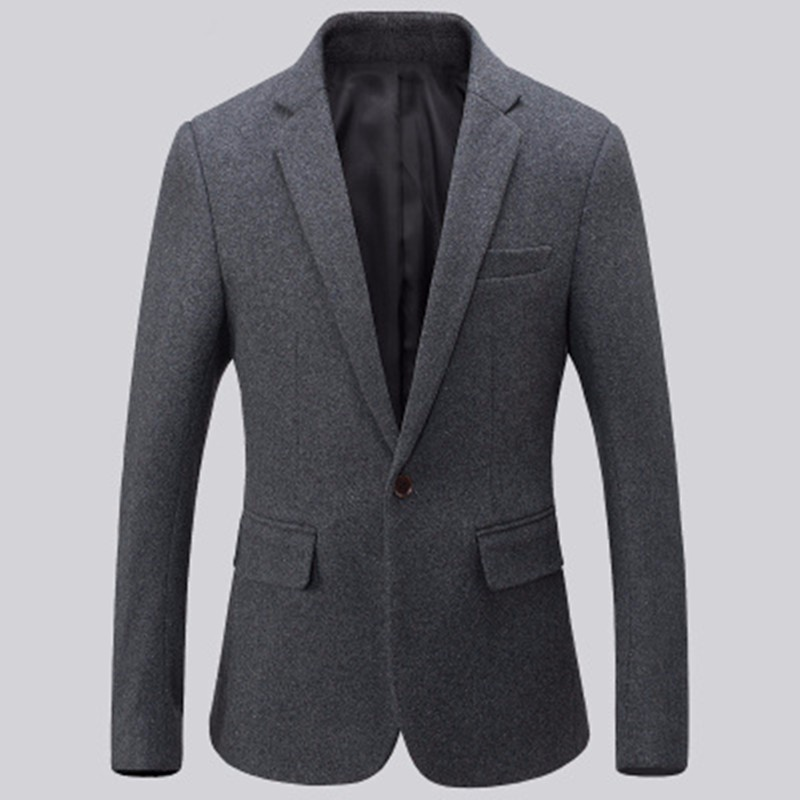 9.1New arrival men suits jacket wool blended balck and grey wedding dress jacket solid color one button work formal suits jacket