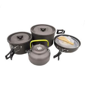 Outdoor Camping Cookware Combination Cookware Tableware Picnic Bowl Pot Pan Set Cookware