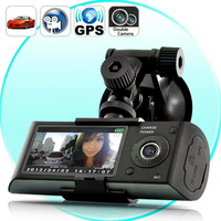 GPS Longer Car Blackbox DVR Gravity Sensor Car Driving Video Recorders Mini 2.7 Inches Double Camera Vehicle Recordesr NO Card