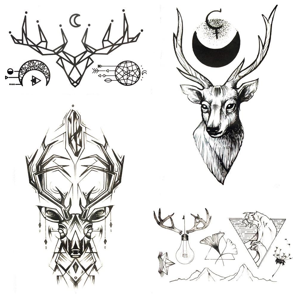 Black Geometric Elk Deer Temporary Tattoo Stickers Men