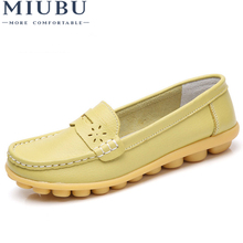MIUBU New Women Real Leather Shoes Moccasins Mother Loafers Soft Leisure Flats Female Driving Casual Footwear Size 35-44 new women loafers leather shoes casual moccasins female driving fashion comfortable soft leisure women flats