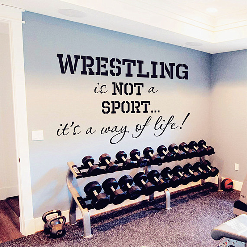 2016 new hot wall sticker quotes wrestling its a way of life gym design - Wrestling Bedroom Decor